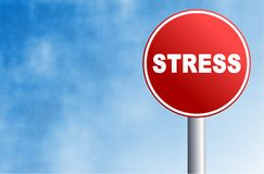 Stress sign. Round concept street sign with the word STRESS written across it Stock Photo