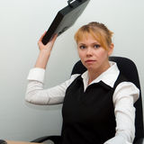 Stress situation. Portrait business woman in stress situation. Business woman series Royalty Free Stock Photography