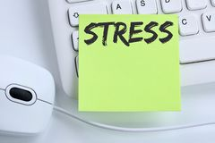 Stress stressed burnout at work relaxed business concept mouse. Computer keyboard Stock Image