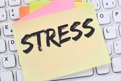 Stress stressed burnout at work relaxed note paper business conc. Ept keyboard Stock Image