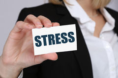 Stress stressed business woman burnout at work concept Stock Images