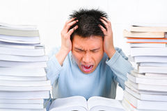 Stress in study Royalty Free Stock Photo