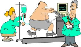 Stress test. This illustration depicts a man on a treadmill doing a stress test with a doctor and nurse observing him Stock Photos