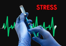 Stress. Treatment of stress. Syringe is filled with injection. Syringe and vaccine. Medical concept Royalty Free Stock Photography
