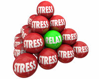 Stress Vs Relax Ball Pyramid Burdens Relief Stock Photos