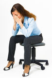 Stress. Woman hides her face Royalty Free Stock Images