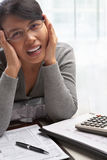 Stress woman with tax form Stock Photos