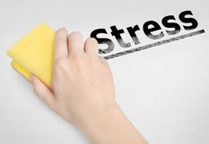 Stress  word. Cleaning stress word on background Stock Photo