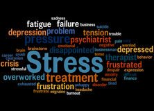 Stress, word cloud concept 6. Stress, word cloud concept on black background Stock Image