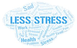 Less Stress word cloud. Wordcloud made with text only vector illustration