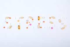 Stress word text made of colorful tablets Royalty Free Stock Photos