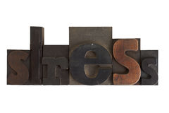 Stress, word written in vintage printing blocks Stock Photos