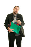Stress at work. Man frustrated and overloaded with work Stock Images
