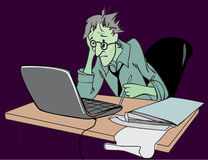 Stress at work. Employee in a stressful situation, sitting in the workplace royalty free illustration