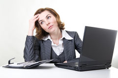 Stress at work. Picture of a stressed business woman at work Royalty Free Stock Image
