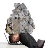 Stress at work. Concept of Stress at work with rocks above the head Royalty Free Stock Image
