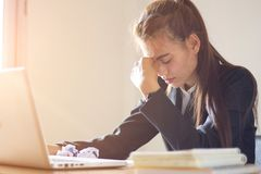Stress at work, failure to work, business failure. stock photo