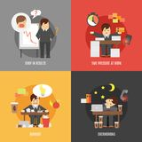 Stress at work flat icons composition Stock Photo