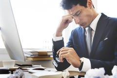 Stress Work Headache Rubbing Concept. Businessman stress work headache rubbing Stock Photo