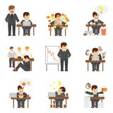 Stress at work icons set Stock Photo
