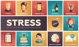 Stress at work - line design icons set Stock Photos