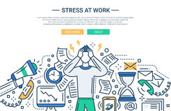 Stress at work - line flat design website banner Royalty Free Stock Photography