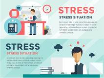 Stress on the work. Office life and business man vector illustration