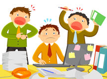 Stress at work. Worker being stressed out by noisy colleagues and too much work Royalty Free Stock Photo
