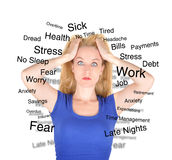 Stress Worry Woman with Text on White Royalty Free Stock Photos
