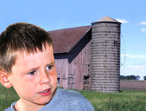 Stress of a Young Farmer Royalty Free Stock Photography