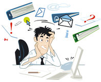 Stress at your desk. With files and letters Royalty Free Stock Photos