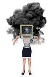 Stressad överansträngd sprängd illustration för anställd stock illustrationer