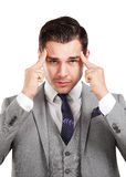 Stressad affärsman med huvudvärk Royaltyfri Foto
