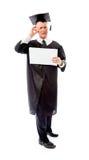 Stressad hög mankandidat som rymmer ett tomt plakat Fotografering för Bildbyråer
