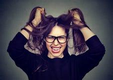 Stressad ilsken kvinna som drar hår som skriker ut på grå väggbakgrund Arkivfoto