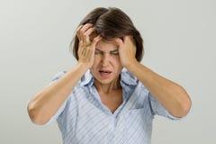 Stressad ledsen kvinna för stående Royaltyfria Bilder