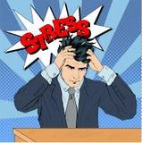 Stressad man på arbete i popet Art Style Arkivfoto