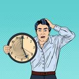 Stressad popArt Business Man Holding Big klocka på arbetsstopptid royaltyfri illustrationer