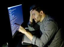 Stressad programvarubärare med det hemmastadda kontoret för dator Royaltyfri Bild