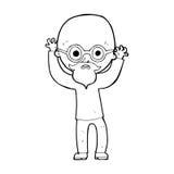 stressad skallig man för tecknad film Arkivbild
