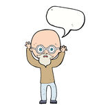stressad skallig man för tecknad film med anförandebubblan Arkivbild