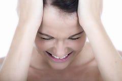 Stressad ung kvinna med huvudvärkmigrän Royaltyfria Foton