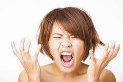 stressad ung kvinna och skrika att skrika Fotografering för Bildbyråer