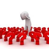 Stressat anseende för man 3d bland röda frågefläckar Fotografering för Bildbyråer