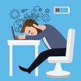 Stressat huvud för affärsmanarbetare ner på jobb för karriär för fördjupning för sammanträde för kris för bärbar datortabell ilsk Arkivfoto