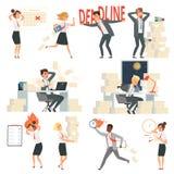 Stressat kontorsfolk Överansträngde tecken för tecknad film för vektor för arbetare för natt för chefer för affär för stopptidtid royaltyfri illustrationer