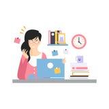 Stressat upptaget ungt affärskvinnateckensammanträde på datorskrivbordet med bärbara datorn och arbete, funktionsdugligt ögonblic royaltyfri illustrationer