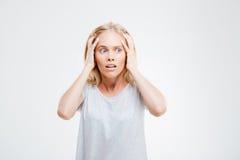 Stressed混淆了白肤金发的妇女身分 图库摄影