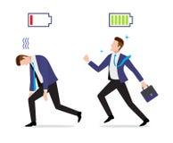 Stressed überarbeiteter und kräftiger Geschäftsmann mit belasteter und entladener Batterieikone lizenzfreie abbildung