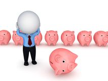Stressed 3d Small With A Pink Piggy Bank. Royalty Free Stock Photos